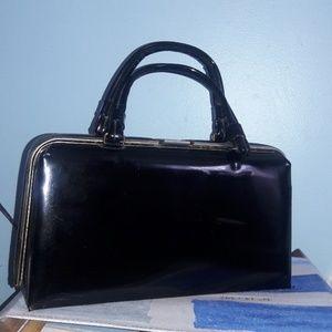 Vintage 50s black patent leather pinup purse.